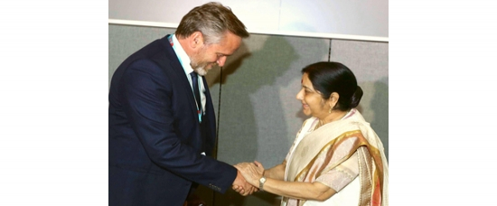 Smt. Sushma Swaraj Minister for External Affairs meeting Danish Foreign Minister Mr. Anders Samuelsen in New York on 18th September 2017