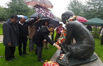 The 148th birth anniversary of Mahatma Gandhi was celebrated by Embassy of India, Copenhagen at Gandhi Parken on 2nd October 2017.