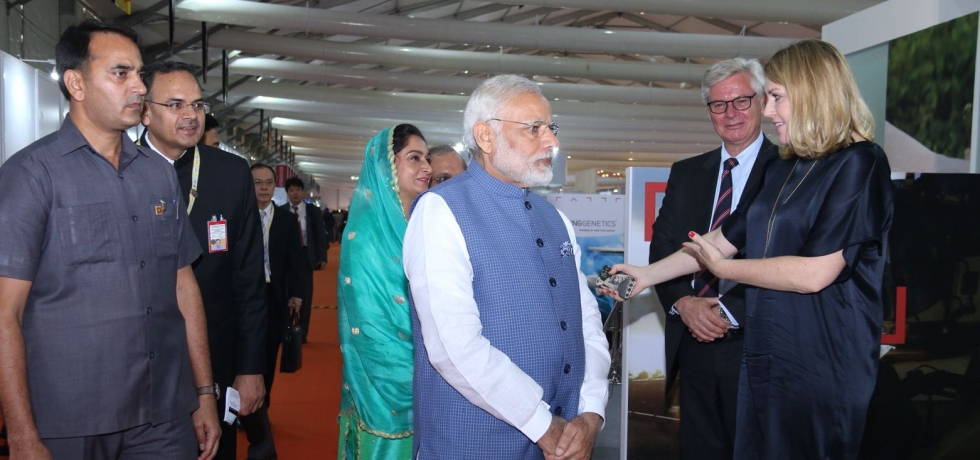 Hon'ble Prime Minister Shri Narendra Modi visits Denmark Pavilion in World Food India on 3rd November 2017