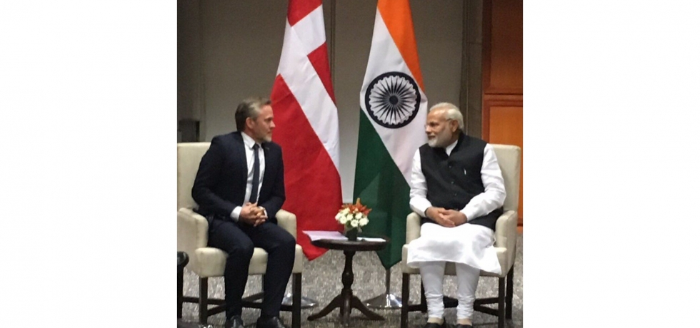 Mr. Anders Samuelsen, Minister of Foreign Affairs of Denmark calls on Prime Minister Narendra Modi in Hyderabad on the sidelines of Global Entrepreneurship Summit on 28 November 2017