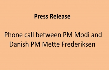 Press release from Danish Prime Minister's Office on phone call between PM Modi and PM Mette Frederiksen