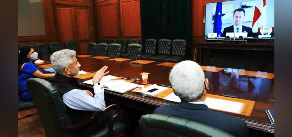 External Affairs Minister Dr. S Jaishankar at the virtual meeting with Minister for Foreign Affairs for Denmark Mr. Jeppe Kofod on 6th April 2021