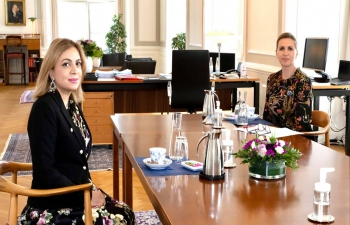 Ambassador H.E. Ms. Pooja Kapur paid a courtesy call on the Prime Minister of Denmark H.E. Ms. Mette Frederiksen on 13 May 2021