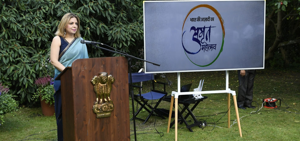 Ambassador Pooja Kapur reading excerpts from Hon'ble President's address to the nation on 75th Independence Day at Embassy of India, Copenhagen
