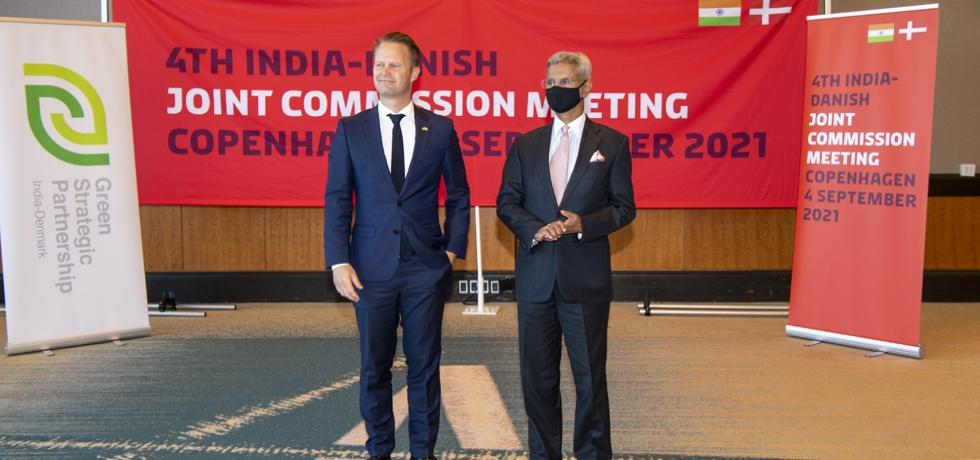 H.E. Dr. S. Jaishankar, Hon'ble External Affairs Minister of India and H.E. Mr. Jeppe Kofod, Foreign Minister of Denmark co-chaired the 4th India - Denmark Joint Commission Mission in Copenhagen, 4 September 2021.