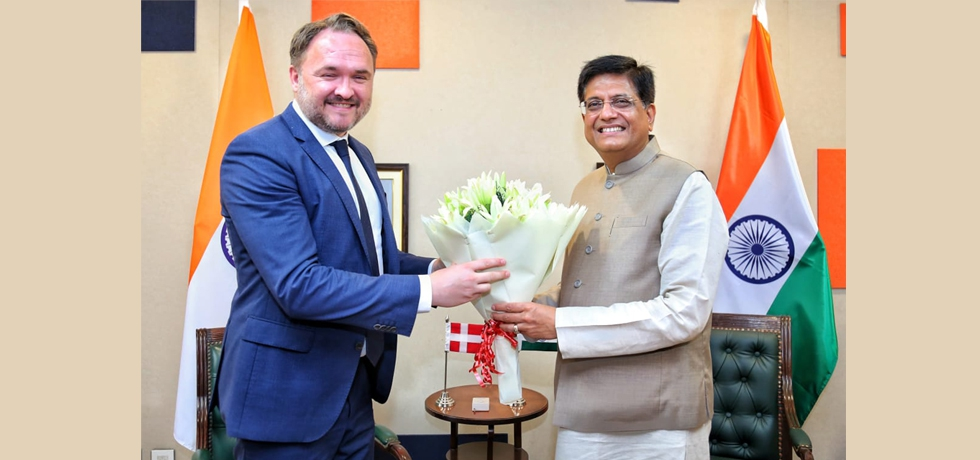 Hon'ble Minister of Commerce and Industry H.E. Mr. Piyush Goyal met Danish Minister for Climate, Energy and Utilities H.E. Mr. Dan Joergensen and discussed ways to strengthen bilateral cooperation in trade, investment & technology between India and Denmark