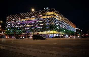 As a mark of honor, the iconic Danish Industries building in Copenhagen was lit in the Indian tricolour Flag of India on the eve of India's 75th Independence Day