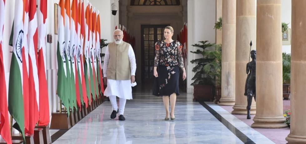 Prime Minister Shri Narendra Modi ji welcomes H.E. Ms. Mette Frederiksen, Prime Minister of Kingdom of Denmark for their bilateral engagement