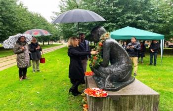 Celebration of Gandhi Jayanti 02nd October, 2021 at the Gandhi Statue in Copenhagen.