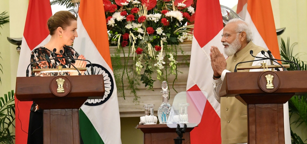 The Prime Minister, Shri Narendra Modi and the Prime Minister of Kingdom of Denmark, H.E. Ms. Mette Frederiksen at the joint Press Statements, at Hyderabad House in New Delhi on October 9, 2021