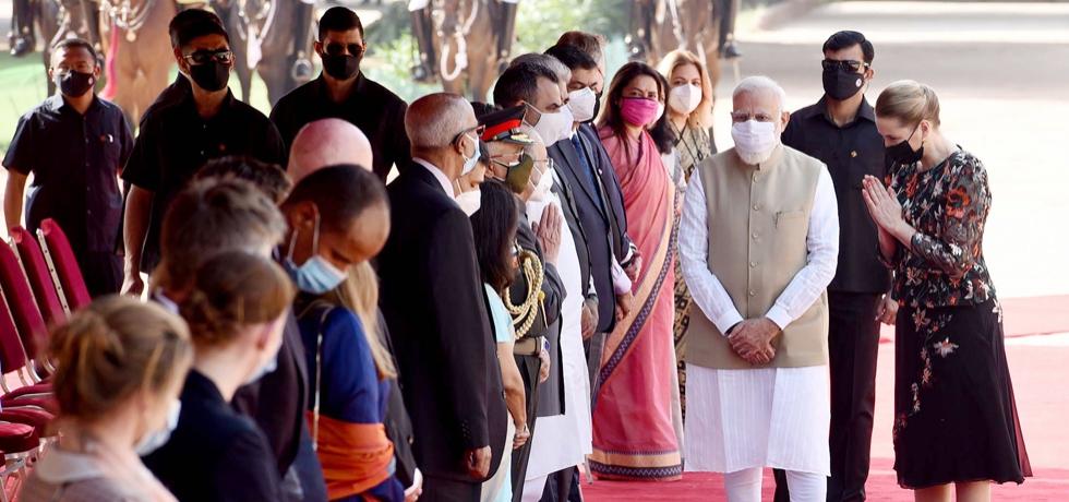 Prime Minister of Denmark H.E. Ms. Mette Frederiksen accorded ceremonial reception at Rashtrapati Bhavan in New Delhi