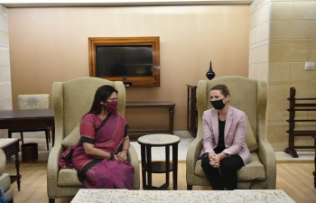 Minister of State Ms. Meenakashi Lekhi receiving the Danish PM H.E. Ms. Mette Frederiksen on her first State Visit to India.