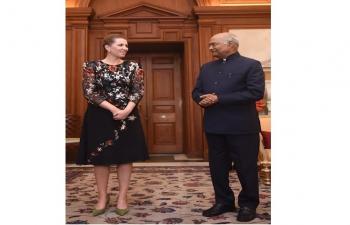 Prime Minister Mette Frederiksen of Denmark called on President Ram Nath Kovind at Rashtrapati Bhavan on 9th Oct 2021