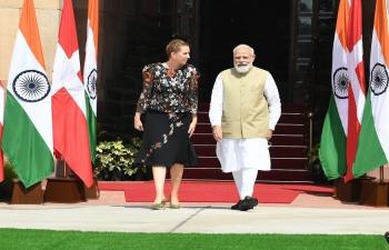 PM Shri Narendra Modi ji welcomed Danish PM H.E. Ms. Mette Frederiksen for their bilateral engagement at Hyderabad House