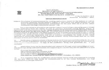 Netaji Subhas-ICAR International Fellowship (Netaji Subhas-ICAR-IFs)